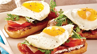 Croque matin with salami, goat cheese & fried egg