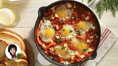 Egg casserole with tomato & pepper sauce