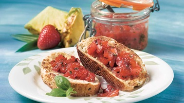 Basil-scented strawberry and pineapple jam