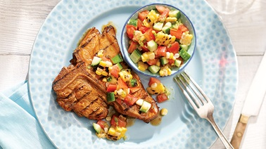 Veal chops and grilled corn salsa from Stefano Faita