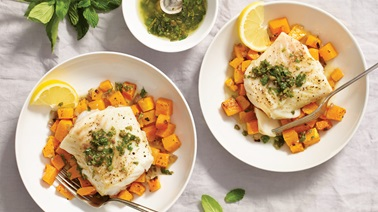 Cod with roasted butternut squash & salsa verde by Stefano Faita