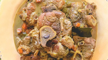 Pork osso buco with lemon
