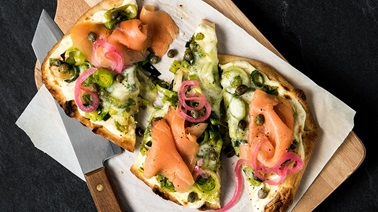 Four-Cheese, Smoked Salmon, and Leek Naan Pizza