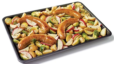 One-pan cheddar & apple sausages